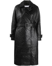 Saks Potts Manteau Selena à motif monogrammé embossé - Noir