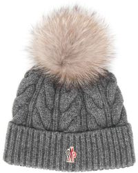3 MONCLER GRENOBLE Pom-pom Cable Knit Hat - Gray