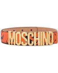 Moschino Face Print Logo Buckle Belt - Orange
