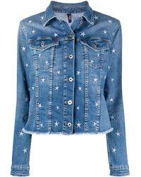 Liu Jo Star Embroidered Denim Jacket - Blue