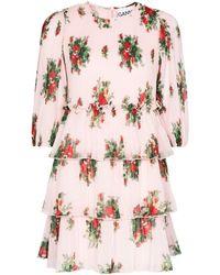 Ganni Ярусное Платье Мини С Цветочным Принтом - Розовый