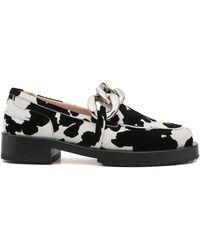 N°21 Animal-print Chain-link Loafers - Black