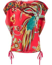 RED Valentino Bird Of Paradise Print Boxy Blouse - Pink