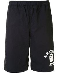 A Bathing Ape Logo-print Track Shorts - Black