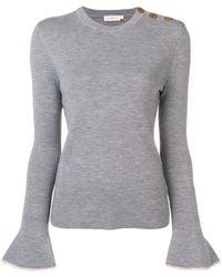 Tory Burch Kimberly Embellished Wool Jumper - Grey