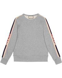 Gucci - Cotton Sweatshirt With Stripe - Lyst