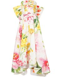 Bambah Lotus Bow Gown - White
