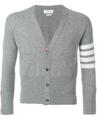 Thom Browne Short V-Neck Cardigan With 4-Bar Stripe In Light Grey Cashmere - Grau