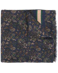Kent & Curwen Short Knitted Scarf - Blue