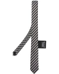 Saint Laurent Jacquard Striped Silk Tie - Black