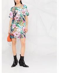 Philipp Plein Vestido estilo camiseta con estampado floral - Rosa