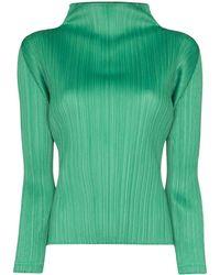 Pleats Please Issey Miyake Blusa plisada con cuello alto - Verde