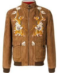 Gucci Dragon Embroidered Jacket - Brown