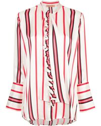 Maggie Marilyn Striped Pussybow Shirt - レッド