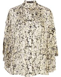 Proenza Schouler Printed Cape Sleeves Blouse - Multicolor