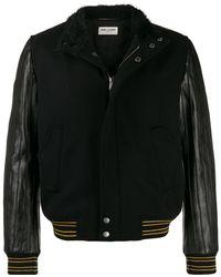 Saint Laurent Куртка-бомбер Teddy - Черный