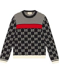 Gucci GG And Stripes Knit Sweater - Blauw