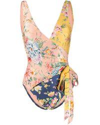 Zimmermann Zinnia Wrap-effect Floral-print Swimsuit - Yellow