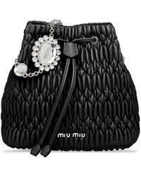 Miu Miu ビジューバケットバッグ - ブラック