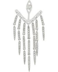 Yvonne Léon - 18kt White Gold And Emerald Dessous Denté Earrings - Lyst