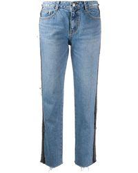 SJYP Patch Detail Straight-leg Jeans - Blue