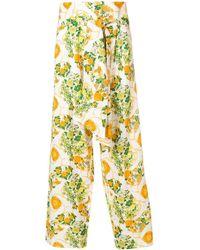 Hermès Pantaloni a fiori - Bianco