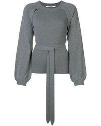 Chalayan Puff Sleeve Ribbed Jumper - Grey