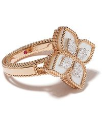 Roberto Coin 18kt Rose Gold Princess Flower Mother-of-pearl And Diamond Ring - Pink