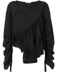 377b2a5e68994 Lyst - 3.1 Phillip Lim Cropped Gathered Sleeve Shirt in Black