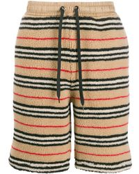 Burberry Icon Stripe Fleece Shorts - Коричневый
