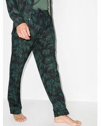 Desmond & Dempsey Pantalones con estampado de palmeras - Azul
