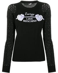 Love Moschino Embroidered-sleeve Logo Sweater - Black