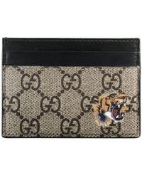 Gucci - Tarjetero GG Supreme con estampado de tigre - Lyst