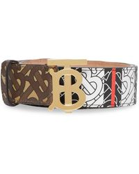 Burberry Monogram Stripe E-canvas and Leather Belt - Braun