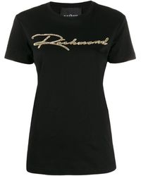 John Richmond スパンコール ロゴ Tシャツ - ブラック