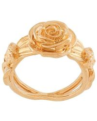 Versace Rose Embossed Ring - Metallic