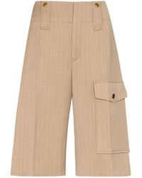 Chloé Pinstripe Knee-length Shorts - Brown