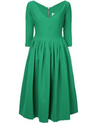 Preen By Thornton Bregazzi Plunge-neck Flared Dress - Green