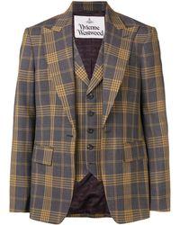 Vivienne Westwood Layered Check Jacket - Grijs