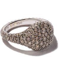 David Yurman 18kt white gold Petite Pavé diamond pinky ring - Multicolore