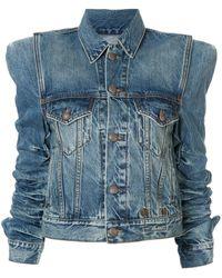 R13 Ruched Sleeves Shoulder Pad Jacket - Blue