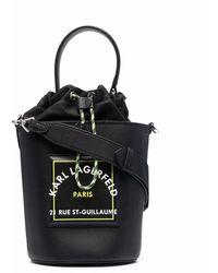 Karl Lagerfeld ロゴパッチ バケットバッグ - ブラック