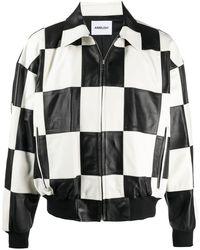 Ambush Checked Leather Jacket - White
