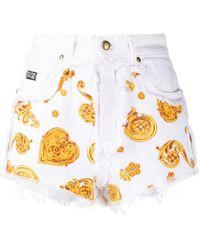 Versace Jeans Couture Baroque-print Denim Shorts - White