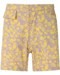 Amir Slama Floral Tactel Swim Shorts - Yellow