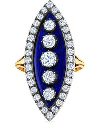 Fred Leighton Bague Navette en or 18ct ornée de diamants - Bleu