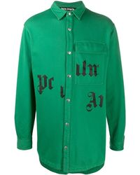 Palm Angels ロゴ シャツ - グリーン