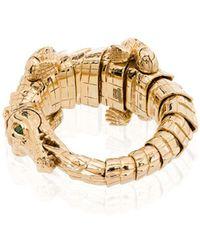 Bibi Van Der Velden 18kt Yellow Gold Crocodile Wrap Ring - Metallic