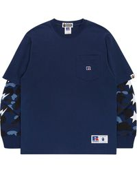 A Bathing Ape X Russell 'colour Camo College' Tシャツ - ブルー
