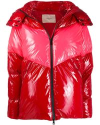 Twin Set Zip Up Puffer Jacket - Red